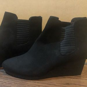 Dr scholls shoes black wedge work bootie comfy